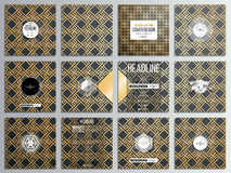 Set of 12 creative cards, square brochure template design. Islamic gold pattern with overlapping geometric shapes. Set of 12 creative cards, square brochure Royalty Free Stock Photos