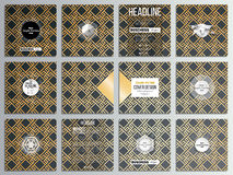 Set of 12 creative cards, square brochure template design. Islamic gold pattern with overlapping geometric shapes. Set of 12 creative cards, square brochure Stock Photo