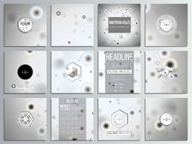 Set of 12 creative cards, square brochure template. Design. Molecular research, illustration of cells in gray, science vector background Stock Photo