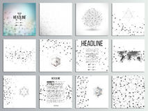 Set of 12 creative cards, square brochure template. Design. Molecular structure, gray backgrounds for communication, science abstract vector illustration vector illustration