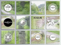 Set of 12 creative cards, square brochure template. Design. Nature landscape. Collection of abstract multicolored backgrounds. Natural geometrical patterns Stock Photography