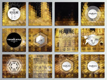 Set of 12 creative cards, square brochure template. Design. Night city landscape. Abstract multicolored backgrounds. Natural geometrical patterns. Triangular Royalty Free Stock Photography