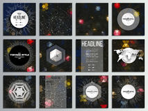 Set of 12 creative cards, square brochure template. Design. Night lights in the city. Abstract multicolored backgrounds. Natural geometrical patterns Royalty Free Stock Photos