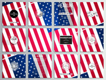 Set of 12 creative cards, square brochure template design. Presidents day background with american flag. Abstract vector illustration Royalty Free Stock Photo