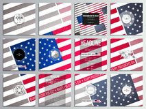Set of 12 creative cards, square brochure template design. Presidents day background with american flag. Abstract vector illustration Stock Image