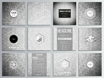 Set of 12 creative cards, square brochure template design. Sacred geometry, triangle design gray background. Abstract. Vector illustration Royalty Free Stock Images