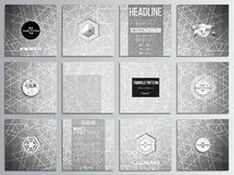 Set of 12 creative cards, square brochure template design. Sacred geometry, triangle design gray background. Abstract Royalty Free Stock Images