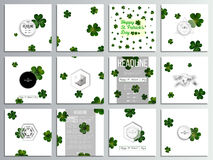 Set of 12 creative cards, square brochure template design. St Patricks day vector background, green clovers on white.  stock illustration