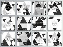 Set of 12 creative cards, square brochure template design. Triangular vector pattern. Abstract black triangles on white. Background vector illustration