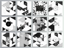 Set of 12 creative cards, square brochure template design. Triangular vector pattern. Abstract black triangles on white. Background Stock Photo