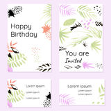 Set of creative cards and visiting cards. In art hand-drawn style. Design concept for congratulations and invitations Royalty Free Stock Photos