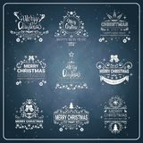Set Of Creative Christmas And New Year 2018 Icon On Chalkboard Background Holiday Logos Collection. Vector Illustraion Stock Photo