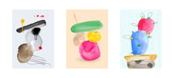 Set of creative colored minimalist hand painted illustration for wall decoration, postcard or brochure, banner, greeting cards,