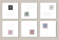Set of 6 creative covers or universal cards with hand drawn vintage typewriters Royalty Free Stock Photos
