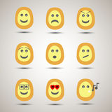 Set of creative emoji smiley faces. Royalty Free Stock Image