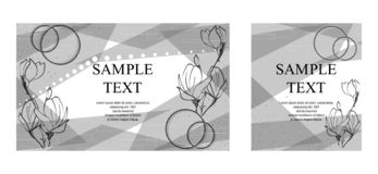 Set of creative hand drawn floral background. Vector black and white textured cards. Beautiful abstract poster. Set of creative fashion glamour hand drawn vector illustration