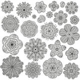 Set of creative flowers for your design. Romantic floral patterns. Black and white colors. Detailed vector illustration. Hand drawn elements Stock Images