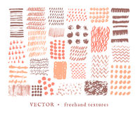 Set creative freehand textures Royalty Free Stock Photography