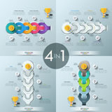 Set of 4 creative infographic design layouts. Multicolored and monochrome, vertical and horizontal chains with 5 links and text boxes. Vector illustration for Royalty Free Stock Photography