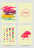 Set of creative ink cards Stock Images