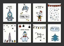 Set of creative journaling cards. Christmas Posters set. Vector illustration. Template for Greeting Scrapbooking. Congratulations, Invitations, Stickers stock illustration