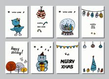 Set of creative journaling cards. Christmas Posters set. Vector illustration. Template for Greeting Scrapbooking. Congratulations, Invitations, Stickers royalty free illustration
