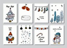 Set of creative journaling cards. Christmas Posters set. Vector illustration. Template for Greeting Scrapbooking. Congratulations, Invitations, Stickers Stock Images
