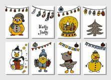 Set of creative journaling cards. Christmas Posters set. Vector illustration. Template for Greeting Scrapbooking. Congratulations, Invitations, Stickers Stock Photography