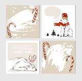 Set of creative 6 journaling cards. Christmas Posters set. Vector illustration. Template for Greeting Scrapbooking Stock Images