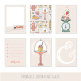 Set of 6 creative journaling cards. Cooking, baking and sweets stock illustration