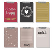 Set of 6 creative journaling cards and gift cards Royalty Free Stock Image