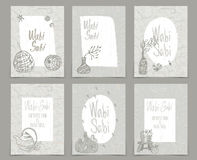 Set of creative journaling cards template for japanese. Style Wabi-Sabi .Art for scrapbooking, congratulations, invitations, stickers, planners and other stock illustration