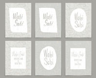 Set of creative journaling cards template for japanese. Style Wabi-Sabi .Art for scrapbooking, congratulations, invitations, stickers, planners and other Royalty Free Stock Photos