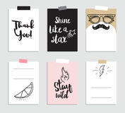 Set of creative 6 journaling cards. Vector illustration. Template for greeting scrapbooking, planner, congratulations Stock Images