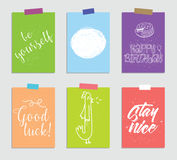 Set of creative 6 journaling cards. Vector illustration. Template for greeting scrapbooking, planner, congratulations. Stickers and invitations. Inspiring royalty free illustration