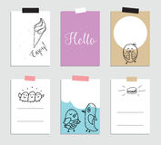 Set of creative 6 journaling cards. Vector illustration. Template for greeting scrapbooking, planner, congratulations Stock Photos