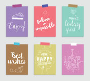 Set of creative 6 journaling cards. Vector illustration. Template for greeting scrapbooking, planner, congratulations stock illustration