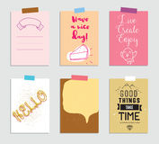 Set of creative 6 journaling cards. Vector illustration. Template for greeting scrapbooking, planner, congratulations. Stickers and invitations. Inspiring vector illustration