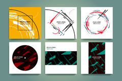 Set of creative minimalism backgrounds. Abstract geometry and torn forms. Hand drawn style. Applicable for music covers Stock Photos