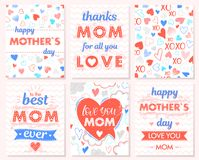 Set of creative Mothers Day cards Stock Image