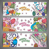 Set of creative multi colour vector banners for Happy Easter Royalty Free Stock Photo