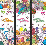 Set of creative multi colour vector banners for Happy Easter Stock Photos