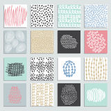 Set of 16 creative pastel cards stock illustration