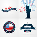 Set of creative pattern of american flag design Royalty Free Stock Image