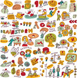 Set creative people color objects and icons  Stock Photo