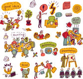Set creative people in office business color icons. Doodles set with creative people, symbols and icons. Every object is separated. Color vector illustration vector illustration
