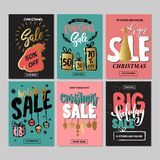 Set of creative sale holiday website banner templates. Christmas and New Year illustrations. Stock Photography