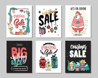 Set of creative sale holiday website banner templates. Christmas and New Year illustrations. Royalty Free Stock Photography
