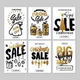Set of creative sale holiday website banner templates. Christmas and New Year illustrations. Stock Photos