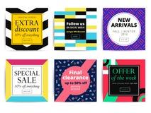 Set of creative social media banners design for online shop  Stock Image